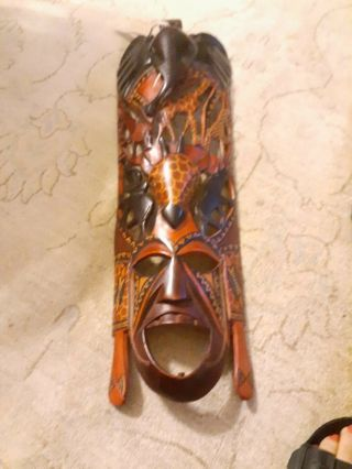 African Masks Wall Decor Ebony Wood? One Solid Piece, .  Hand Carved