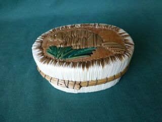 American Indian Porcupine Quill & Birch Bark Oval Box With A Beaver On The Cover