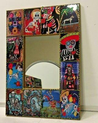 """Mexican Day Of The Dead Mirror Wood Frame 15.  75 """" Catrina High Gloss Sugar Skull"""