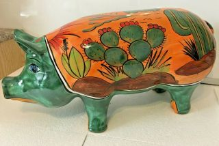 "Talavera Pottery 19 "" Animal Pig Southwest Cactus Pancho Hand Painted Folk Art"