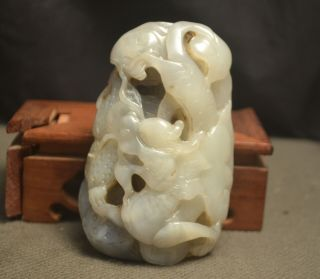 Chinese Vintage Hetian Jade Powerful Dragon Prosperous In Business Totem Carving