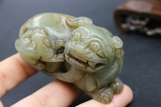Chinese Vintage Sinkiang Jade Wealth Fortune Foo Fu Lion Mother&kid Carving Fftt