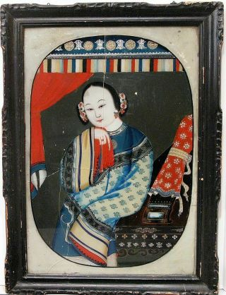 Antique Handpainted Chinese Export Reverse Glass Painting Elegant Woman Portrait