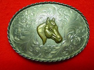 "Vtg "" Diablo "" Sterling Silver,  Horse Head,  Engraved,  Western Belt Buckle"