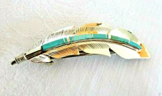 Navajo Billy Long Inlaid Turquoise Sterling Silver Hair Barrette Gift