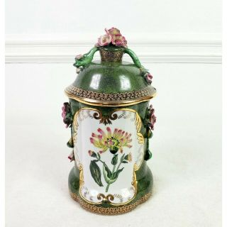 Vintage Porcelain Handpainted Floral Jar With Lid Decorative Jar Canister