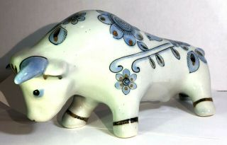 El Palomar Mexico Pottery Bull El Toro Ceramic Hand Painted Blue