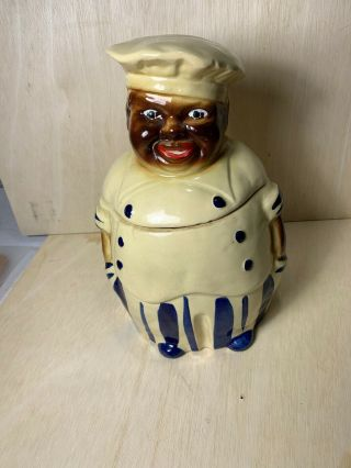 Vintage National Silver Company Black Americana Chef Cookie Jar