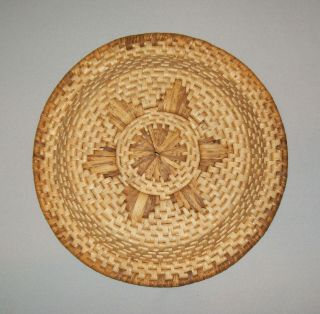Old Vtg Ca 1970s Hand Woven Basket Plate Native American Indian Cond