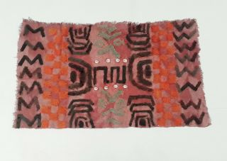 "Kuba Cloth Textile Tribal Ceremonial Skirt Congo,  38 "" X22 "" (3.  17x1.  83) Feet"