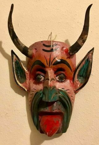 Guerrero Mexican Folk Art Carved Wood Mask Devil Satan Diablo Rattles Goat Horns