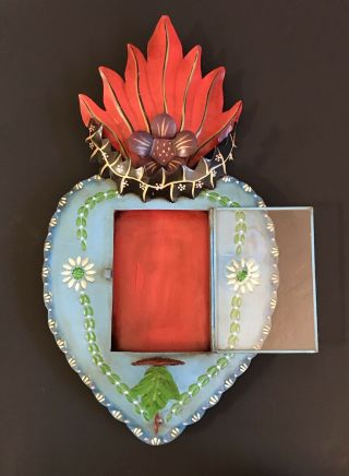 Vintage Tin Sacred Heart Nicho Frame Candle Holder Mexican Folk Art