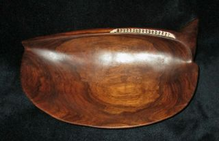 Pacific Solomon Islands Carved Wood Bowl Unusual Shape Mother Of Pearl Inlay 11 ""