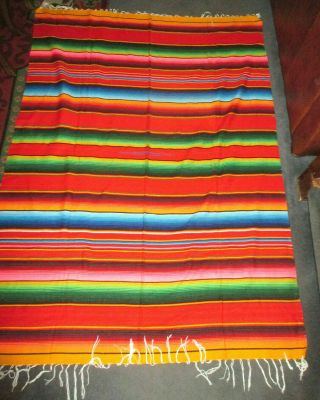 "Vintage Southwestern Mexican Woven Saltillo Striped Blanket 58 "" X 80 """