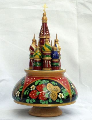Saint Basil's Cathedral Musical Box Hand Carved Hand Painted Signed
