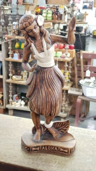 Vintage Hawaiian Hula Dancer Ceramic Treasure Craft Hawaii Tiki Bar Decor