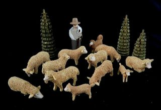 Christian Werner Set Of 16pc Sheep Shepherd Dog Trees Erzgebirge