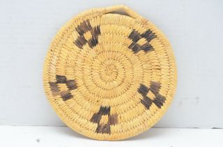 Pima Papago Flat Tray Bowl Trivet Woven Native American Coil Basket Indian 6 ""