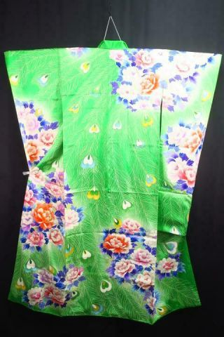 12v18044 Silk Vintage Tall Wide Japanese Kimono Furisode Peacock Feather