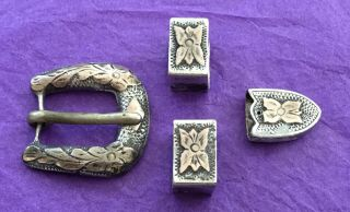 Vtg 925 Sterling Silver Mexican Small Size Western Ranger Cowboy Belt Buckle Set