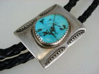 Great Old Navajo Stamped Sterling Silver & Turquoise Bolo Tie