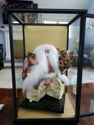 Rare 18 In Japanese Geisha Doll,  Handmade And In Display Case