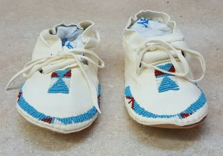Handcrafted Blue Beaded White Buckskin Native American Indian Kids Moccasins