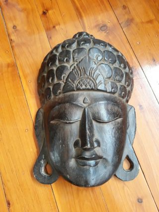 Large Buddha Head Balinese Hand Carved Wall Hanging 37cm Bali Wood Feng Shui
