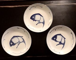 "3 Oriental Blue White China Koi Fish Dinner Plate 10.  25 "" Squiggle Mult Available"