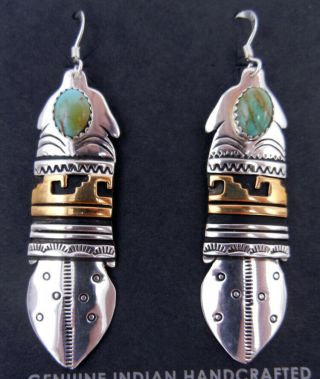 Navajo Rosita Singer Turquoise,  Sterling And Gold Fill Overlay Feather Earrings