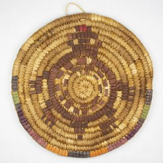 Hazel Pete Chehalis Native American Sweetgrass & Corn Husk Coiled Plaque 7.  25 ""