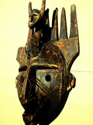 Wooden African Mask Carved Hand Tribal Wall Vintage Art Decor Hanging
