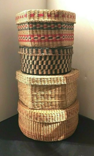 4 Vintage Tribal Native American Indian Woven Baskets With Lids Northwest?
