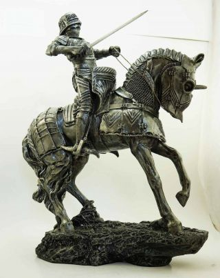 Large Medieval Centurion Knight Of Valor With Armored Horse Statue Handpainted