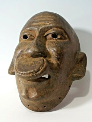 Small Antique Old African Wood Makonde Tribal Lipiko Mask Mozambique / Tanzania