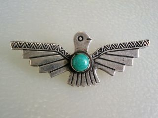 Old Fred Harvey Era Stamped Sterling Silver & Turquoise Thunderbird Pin