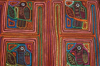 Kuna Abstract Traditional Mola Hand Stitched Applique Bird Maze Art Cloth 73b