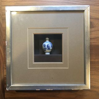 Antique Framed Chinese Blue White Snuff Bottle Piece Asian Circular