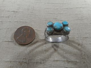 Unusual Fred Harvey Era 5 Stone Natural Turquoise Ring