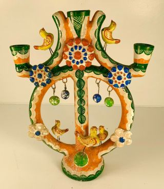 "Vintage Candelabra Candle Stick Mexican Folk Art Tree Of Life Pottery 15 "" Tall"