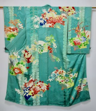 Japanese Kimono Silk Antique Middle Sleeve Furisode / Fine Vintage Furisode /29