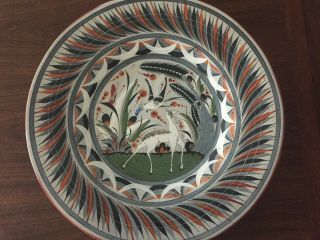 Mid Century Tonala Burnished Pottery Large Wall Plate Signed V Silva 18 ""