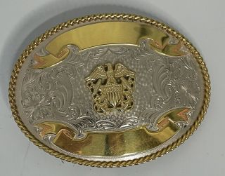 Montana Silversmiths Us Navy Double Anchor Trophy Buckle