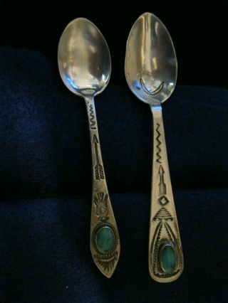 "2 Vintage Navajo Sterling Silver Spoons 3 7/8 "" And 3 3/4 "" Sterling Mkd"
