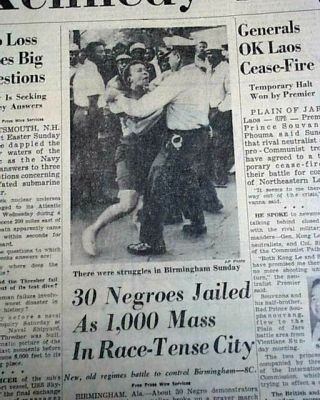 Martin Luther King Jr.  Birmingham Campaign Alabama Protests Jail 1963 Newspaper