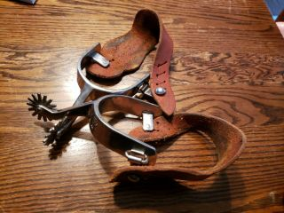 Old Western Cowboy Spurs - 14 Point Rowels Buckaroo Leather Straps