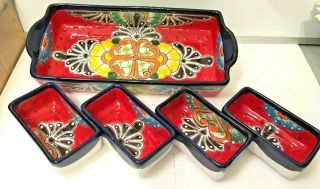 Talavera Chip Dip Mexican Pottery Appetizer Dish Plate Platter Taco Salsa Large