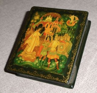 Vintage Soviet 1978 Russian Lacquer Box Swan Princess Kholui E Savel