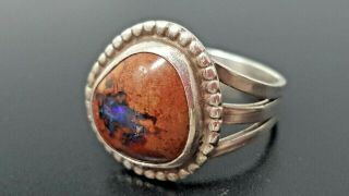 Vintage Sterling Silver Navajo Opal Band Ring Size 8