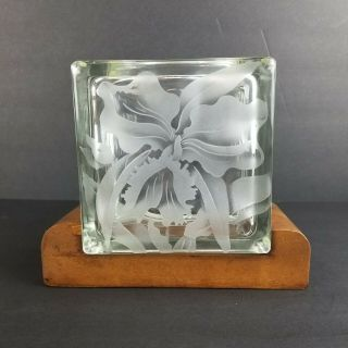 Vintage Hawaiian Glass Block Vase Frank Oda Etched Flower Tiki Bar Decor